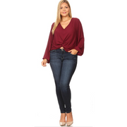 Burgundy Knot Top - Clearance Final Sale
