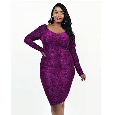Purple Form Fitting Pencil Dress