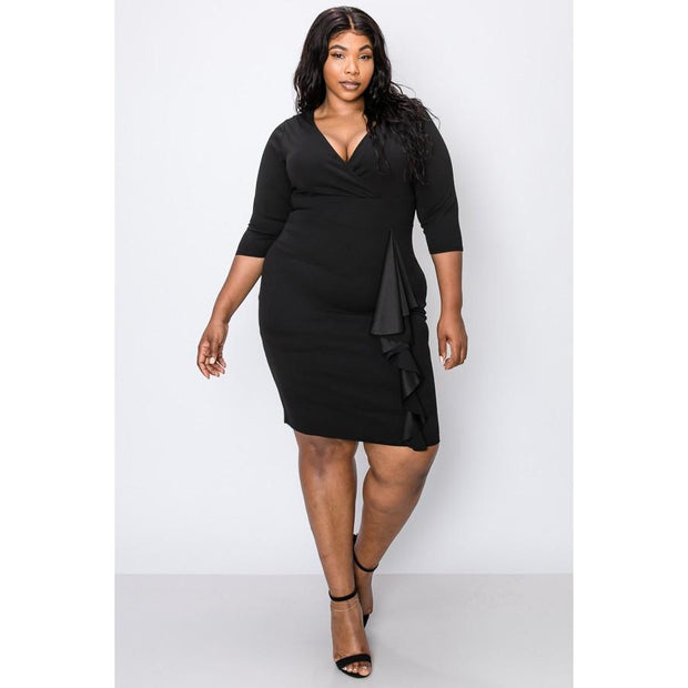 Black Plunging Side Ruffle Dress