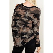 Dark Cold Shoulder Camo Top