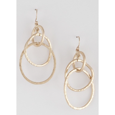 Gold Tone 3 Loop Earrings