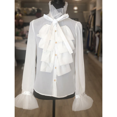 Fall Bow White Blouse