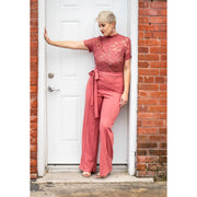 Lace Top Belted Jumpsuit