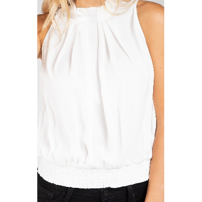 Pleated Sleeveless Off White Blouse