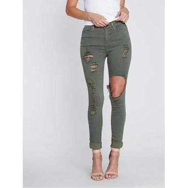 Ripped Olive Distressed Jeans