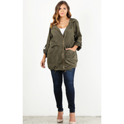 Olive Hooded Silk Jacket
