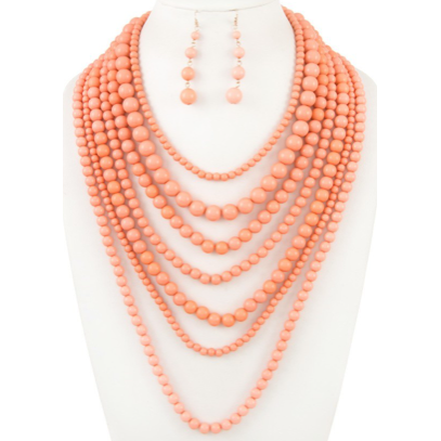 Peach Layered Beaded Necklace