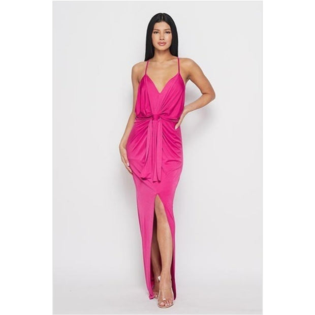 Spaghetti Strap Plunging Ruched Dress