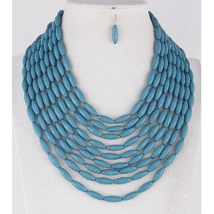 Turquoise Multi Layered Beaded Necklace