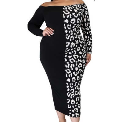 Two Tone Leopard and Black Pencil Dress