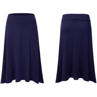 Navy Blue high waisted Midi skirt