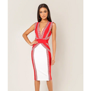 Color Block Plunging Criss Cross Dress