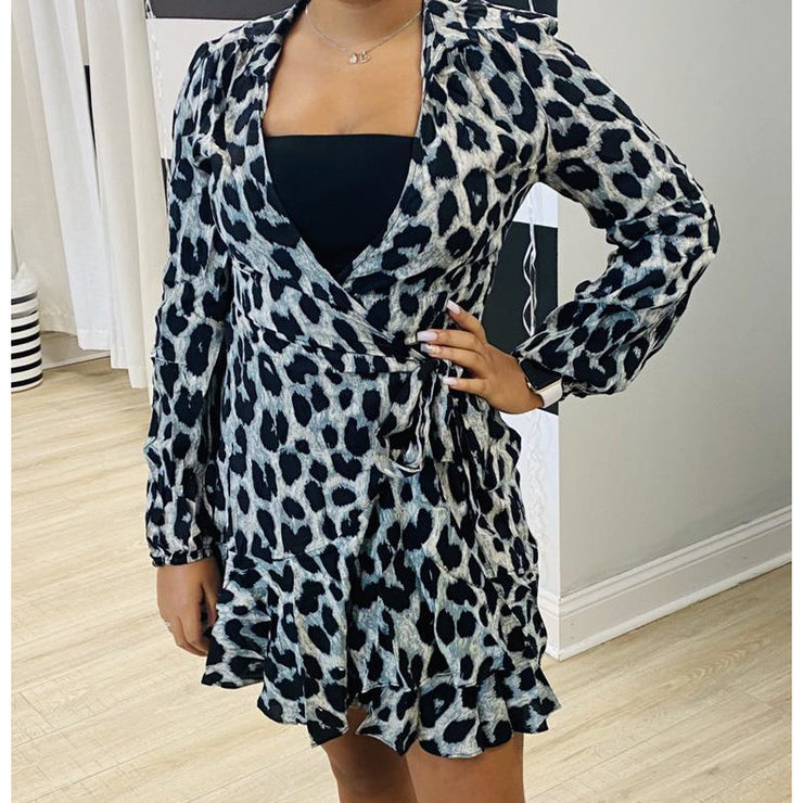 Leopard Wrap Mini Dress