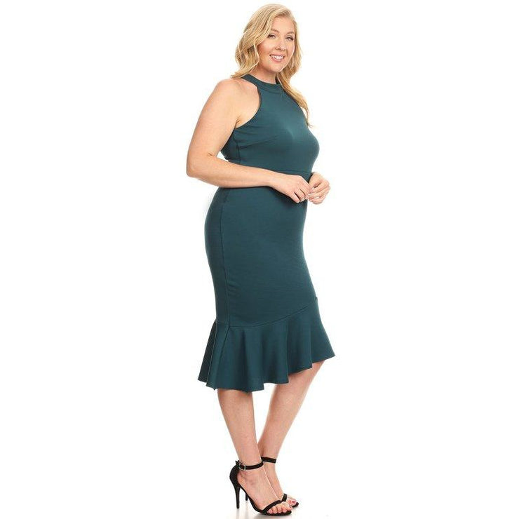 Teal Midi Mermaid Dress- Curvy Bee