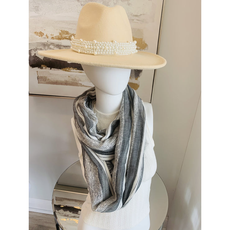 Wide Brim Panama Hat with Pearl detail