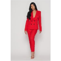 Red Slim Cut Double-Breasted Suit