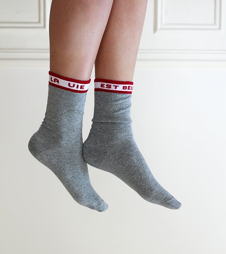 Chaussettes made in France Maison causette gris à paillettes