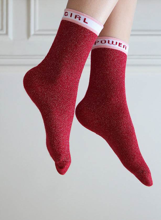 Chaussettes made in France Maison causette rouge à paillettes
