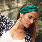 Headband uni vert prairie made in Paris Laure Derrey