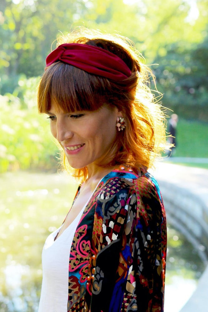 Headband uni Bordeaux Made in Paris Laure Derrey