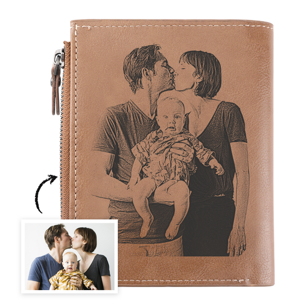 Men's Bifold Short Brown Custom Sketch Photo Wallet