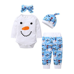 Baby Clothes Set With Headband - Christmas Romper (top, pants, hat, headband 4Pcs)