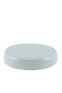 Lid 95mm White PP Ribbed-Wall Flat with Top Ring
