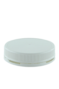 Lid 95mm White PP TAMPER-EVIDENT Ribbed-Wall + Wad