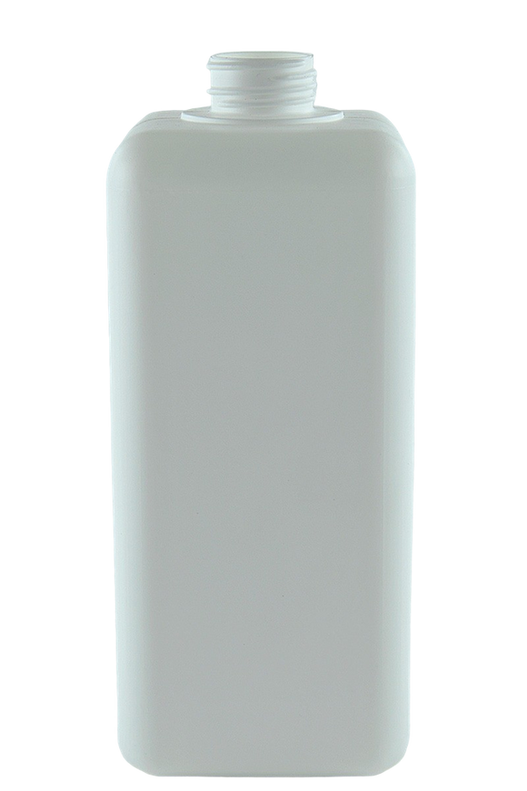 Bottle 2Ltr Square Coulter 38/410 White HDPE 100gm