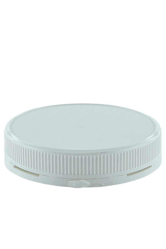 Lid 110mm White PP TAMPER-EVIDENT Ribbed-Wall + Wad