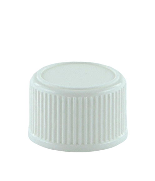 SCCR Screw Cap 28/410 Long-Skirt White Ribbed-Wall + PE Wad + Induction Wad