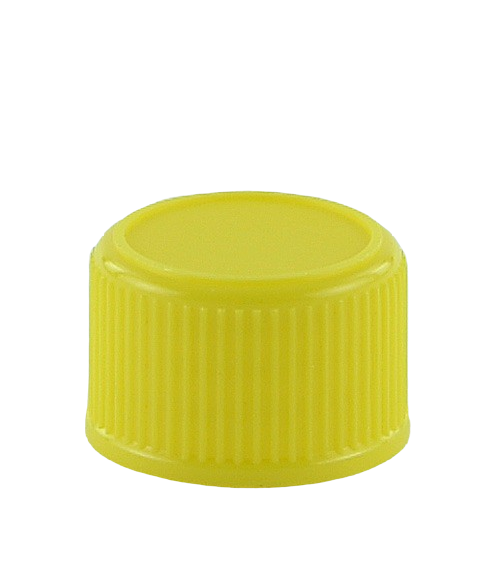 SCCR Screw Cap 28/410 Long-Skirt Yellow Ribbed-Wall Wedge-Seal