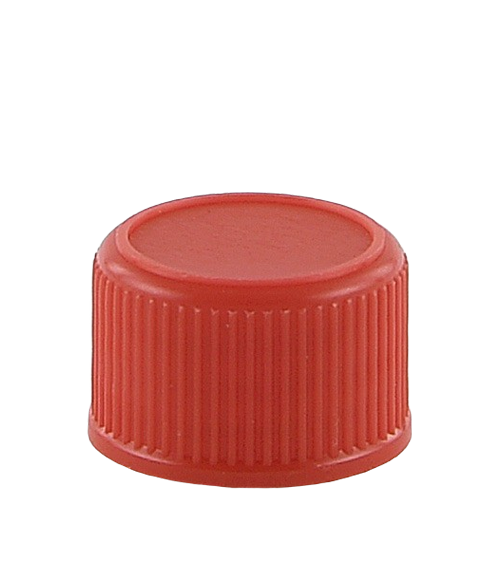 SCCR Screw Cap 28/410 Long-Skirt Red Ribbed-Wall Wedge-Seal