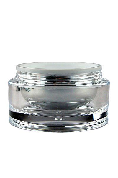 Jar 100mL Taj  Round Base Shiny-Silver Inner / Clear Outer ACRYLIC (assembled inner jar + outer jar