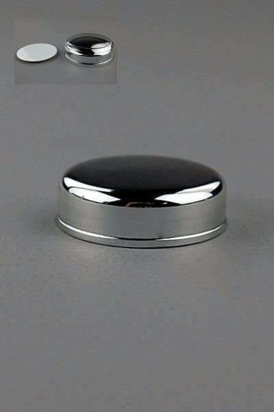 Lid+Seal (for Jar 15mL Taj) Wadded Shiny-Silver Inner / Clear Outer / Seal White