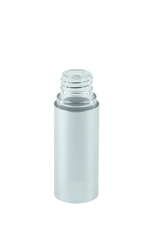 Airless Bottle 15mL Ava Kapp Brush-Silver Body with Shiny-Silver Base