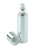 Airless Bottle 80mL Ava Kapp Brush-Silver Body with Shiny-Silver Base