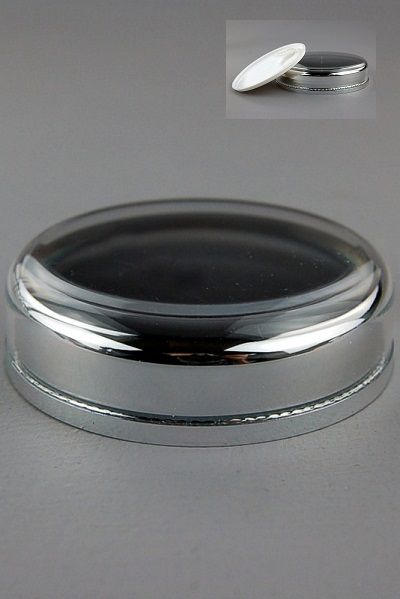 Lid+Seal (for 50mL Taj Jar) Wadded Shiny-Silver Inner + Clear Outer + Seal White (assembled inner lid + outer lid + wad + seal)