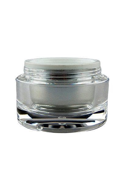 Jar 50mL Taj  Round Base Shiny-Silver Inner + Clear Outer ACRYLIC (assembled inner jar + outer jar)