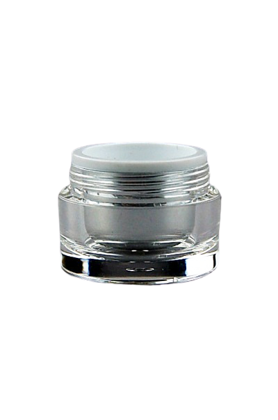 Jar 5mL Taj Round Base Shiny-Silver PP / Clear ACRYLIC (assembled inner jar + outer jar)
