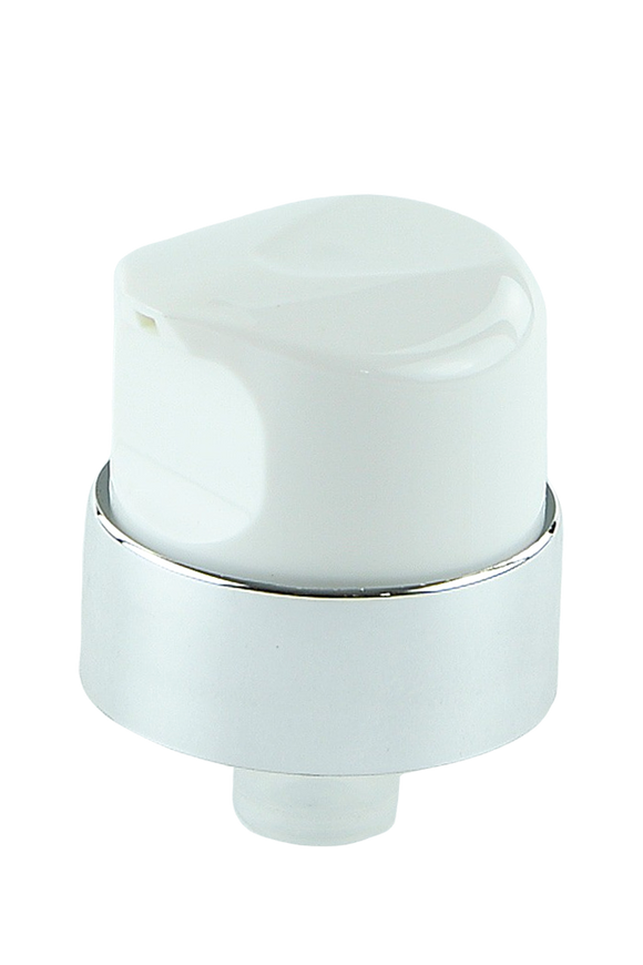 APJY Airless Lotion Pump ONLY (for Bot 120mL Kapp) White  + Shiny SILVER Collar