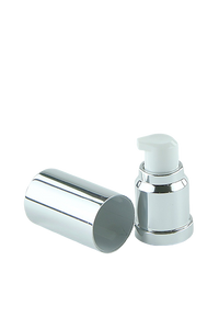 APJY Airless Lotion Pump SSOC (for Bot 15mL Kapp) Shiny-Silver with White Button + Overcap SHINY-Silver