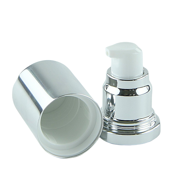 APJY Airless Lotion Pump SSOC (for Bot 30, 50mL Kapp) Shiny-Silver with White Button + Overcap SHINY-Silver