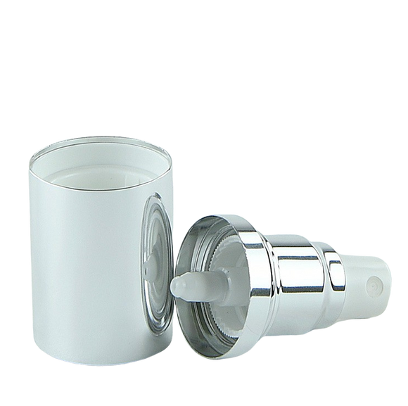 APJY Airless SPRAY Pump SSOC (for 30, 50mL Kapp) Shiny-Silver with White Button + Overcap SHINY-Silver