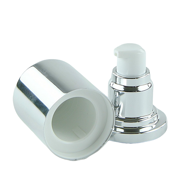 APJY Airless Lotion Pump SSOC (for 80, 100mL Kapp) Shiny-Silver with White Button + Overcap SHINY-Silver