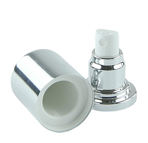 APJY Airless SPRAY Pump SSOC (for 80, 100mL Kapp) Shiny-Silver with White Button + Overcap SHINY-Silver