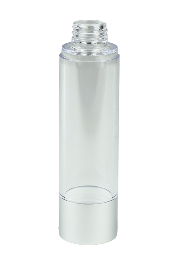 Airless Bottle 50mL Ava Kapp Clear Body with Matte-Silver Base