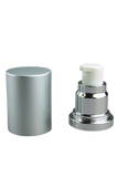 APJY Airless Lotion Pump MSOC (for Bot 30, 50mL Kapp) Shiny-Silver with White Button + Overcap MATTE-Silver