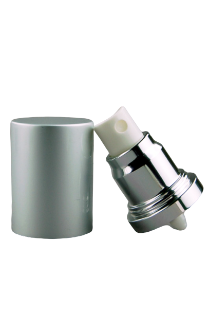 APJY Airless SPRAY Pump MSOC (for 30, 50mL Kapp) Shiny-Silver with White Button + Overcap MATTE-Silver