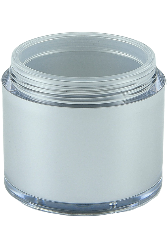 Airless Jar 50mL Ava Base Matte-Silver Outer + Clear Inner